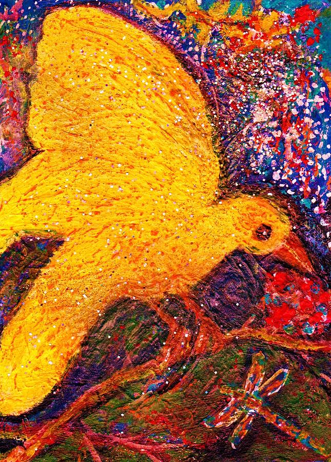 Yellow Mixed Media - Yellow Fellow And Friend by Anne-Elizabeth Whiteway