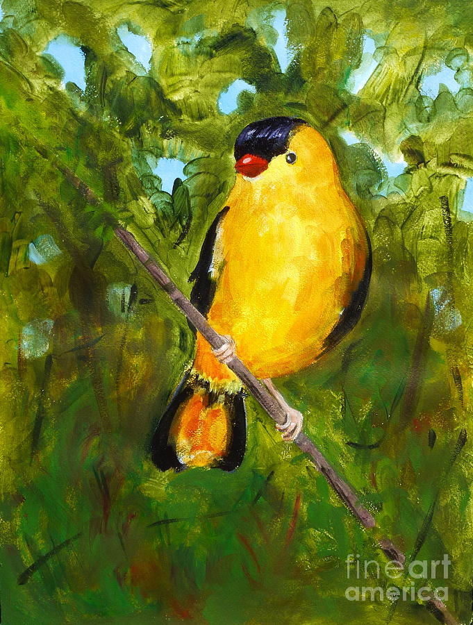 Birds Painting - Yellow Finch by Valerie Lynch