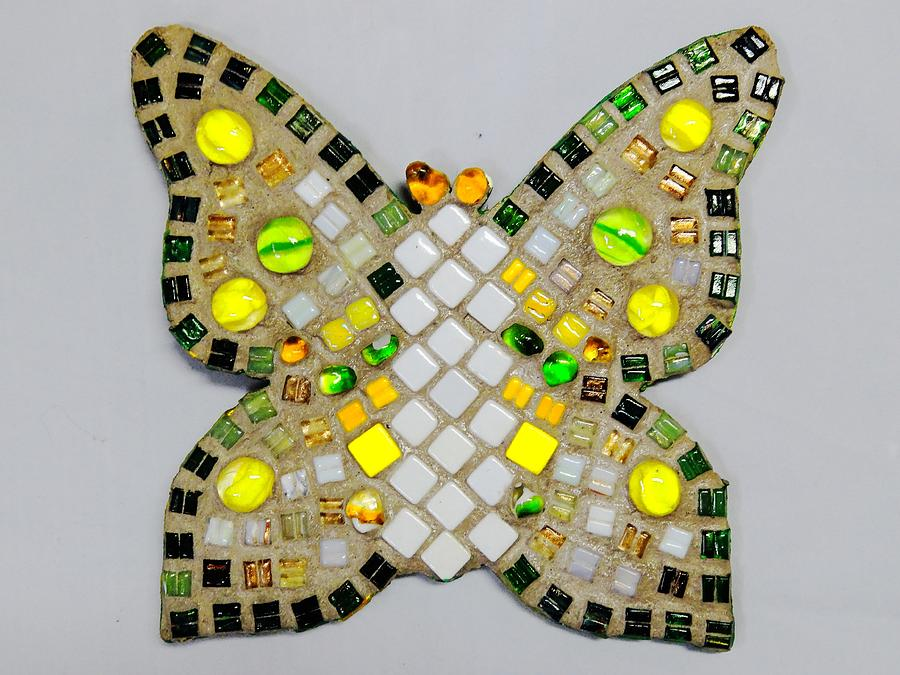 Mosaic Relief - Yellow Flutterby by Lisa Brandel