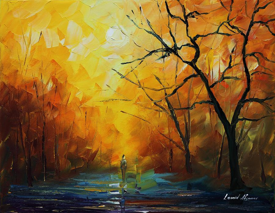 Leonid Afremov Painting - Yellow Fog 2 - Palette Knife Oil Painting On Canvas By Leonid Afremov by Leonid Afremov