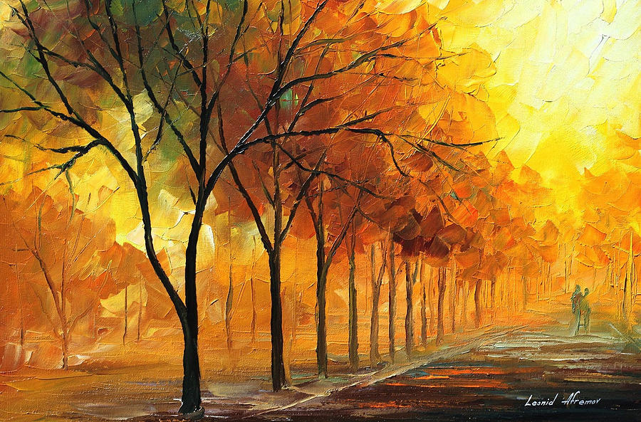 Oil Paintings Painting - Yellow Fog - Palette Knife Oil Painting On Canvas By Leonid Afremov by Leonid Afremov