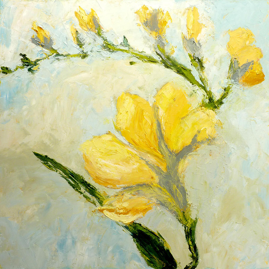 Yellow Freesia Painting By Judy Mackey