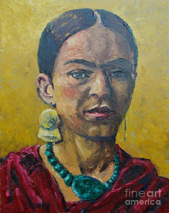 Woman Painting - Yellow Frida by Lilibeth Andre