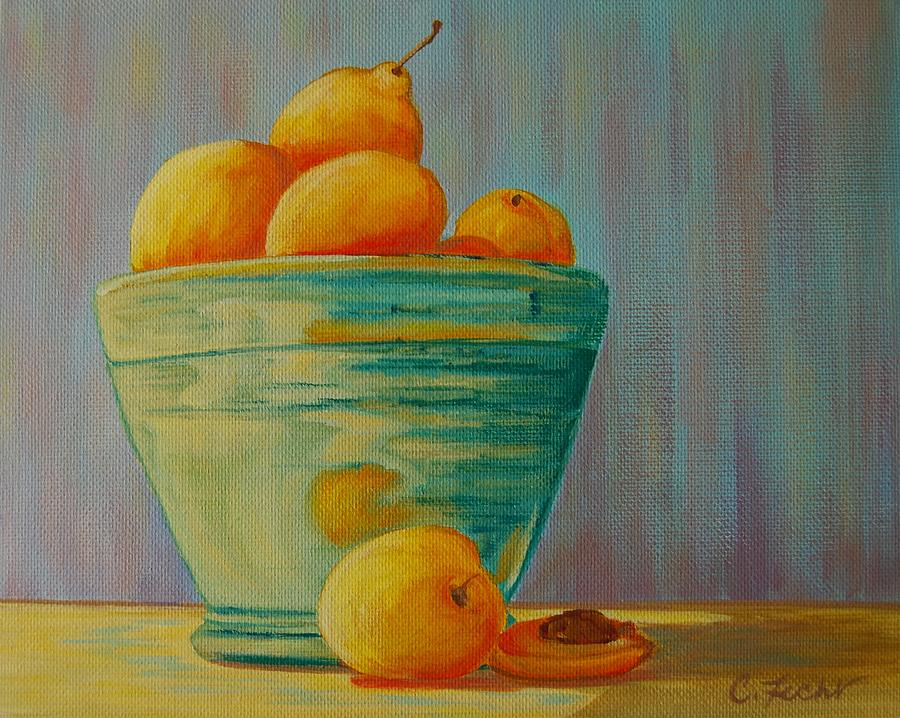 Yellow Fruit Blue Bowl by Cheryl Fecht
