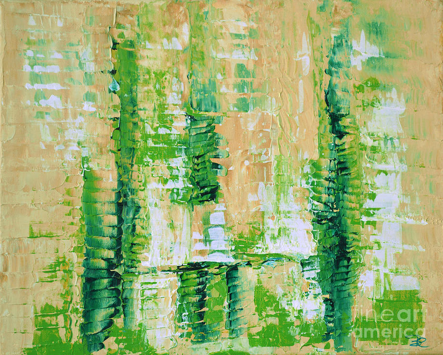 Color Painting - yellow green GROWTH Abstract by Chakramoon by Belinda Capol