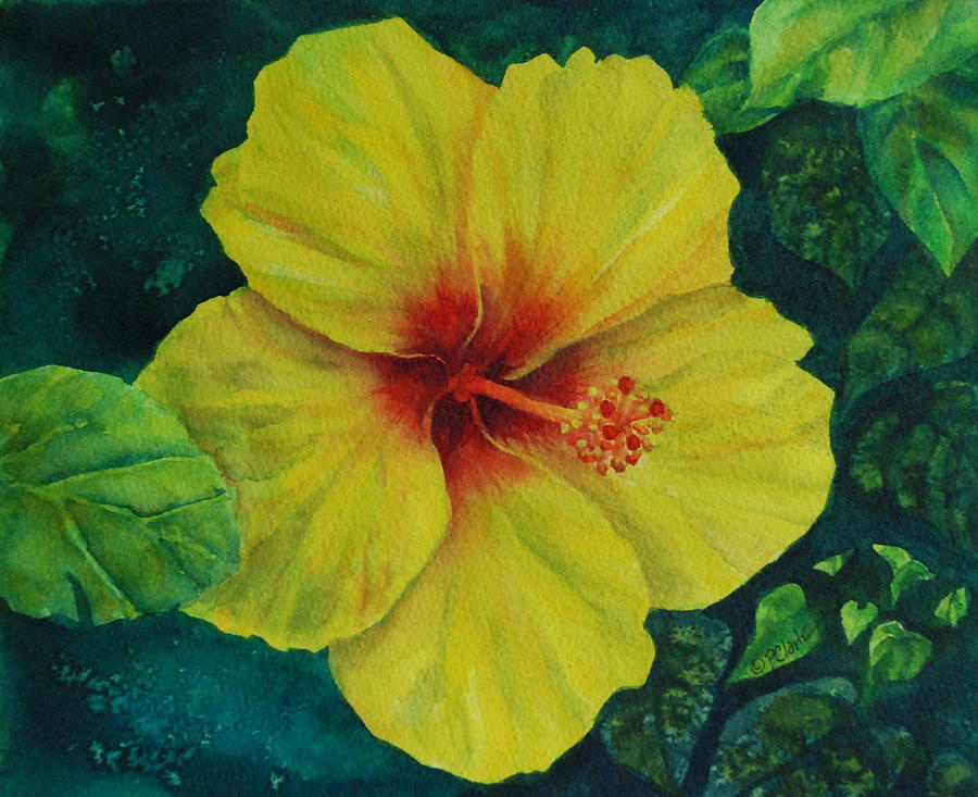 Yellow Painting - Yellow Hibiscus by Donna Pierce-Clark
