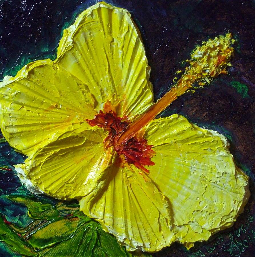 Paris Wyatt Llanso Painting - Yellow Hibiscus by Paris Wyatt Llanso
