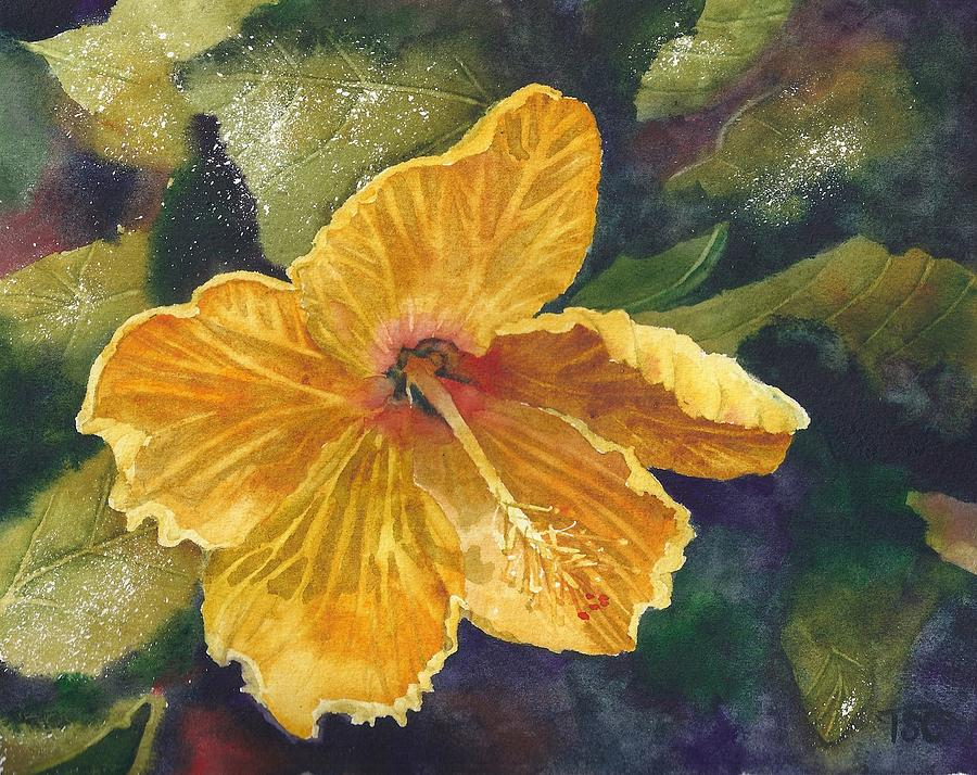 Yellow Flower Painting - Yellow Hibiscus by Tammy Crawford