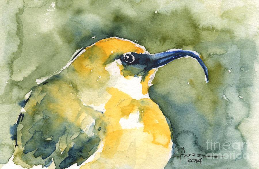 Yellow Bird Painting - akiapolaau - Hawaiian Yellow Honeycreeper by Claudia Hafner