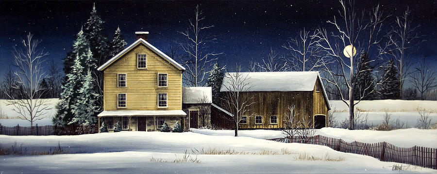 Moonlight Painting - Yellow House by Debbi Wetzel