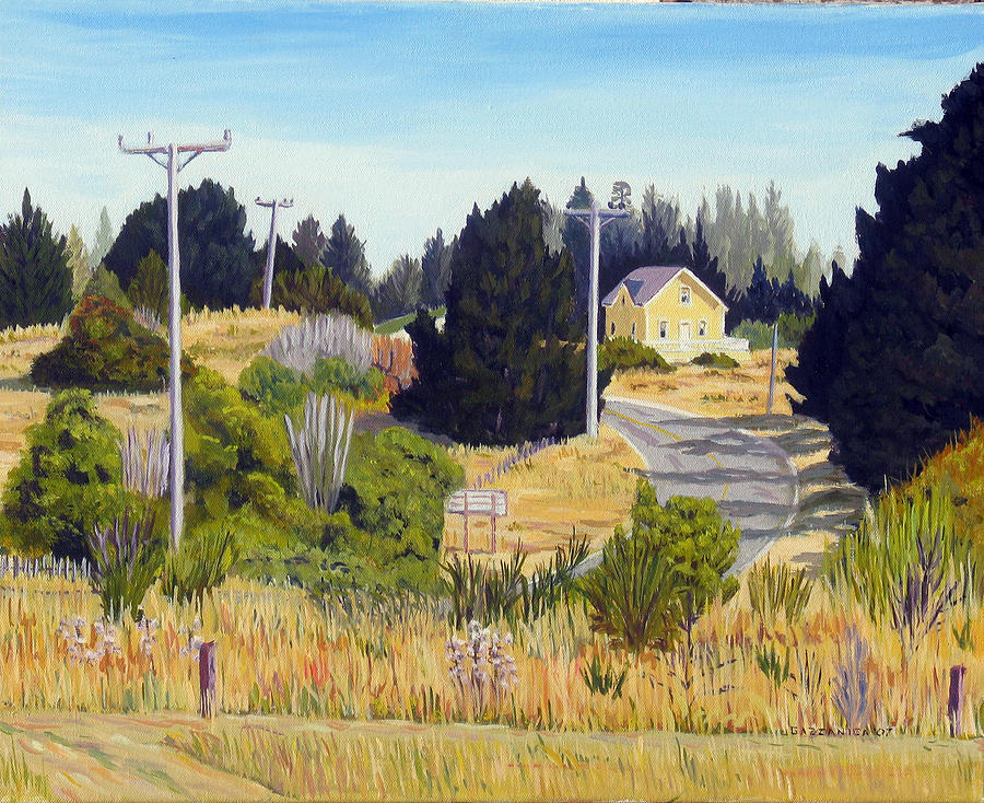Mendocino Painting - Yellow House Lighthouse Road by Donald Gazzaniga