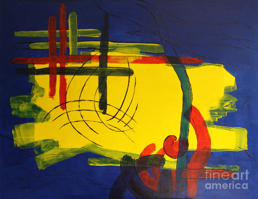 Island Painting - Yellow Island On Blue by Christiane Schulze Art And Photography