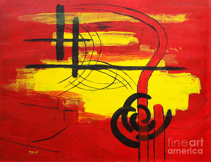 Island Painting - Yellow Island On Red II by Christiane Schulze Art And Photography