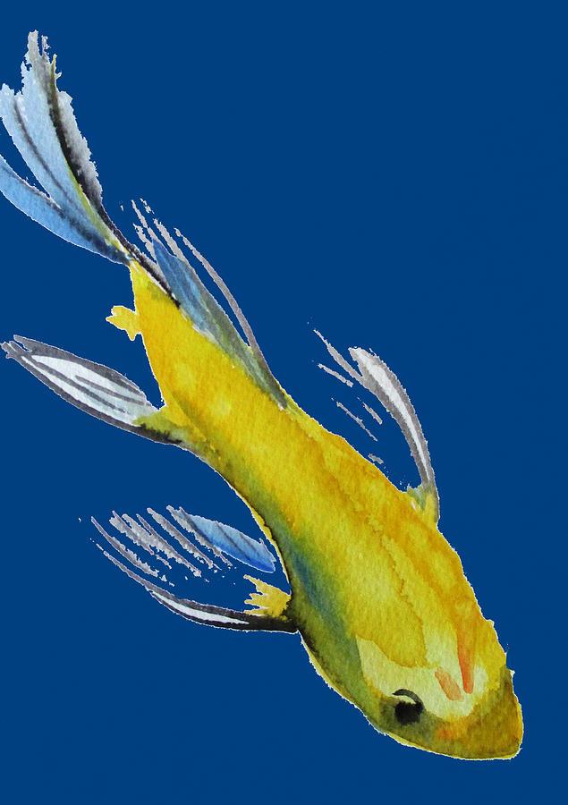 Koi Painting - Yellow Koi by Sacha Grossel