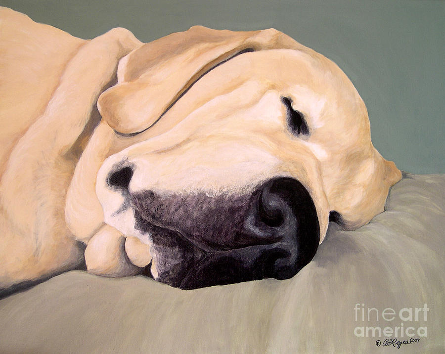 Lab Painting - Yellow Lab - A Head Pillow Is Nice by Amy Reges