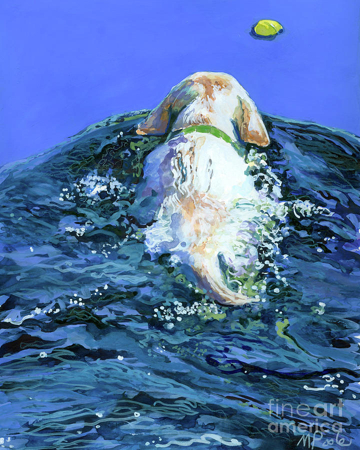 Yellow Labrador Retriever Painting - Yellow Lab  Blue Wake by Molly Poole