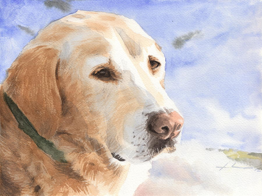 Yellow Lab In Snow Watercolor Portrait Drawing by Mike Theuer