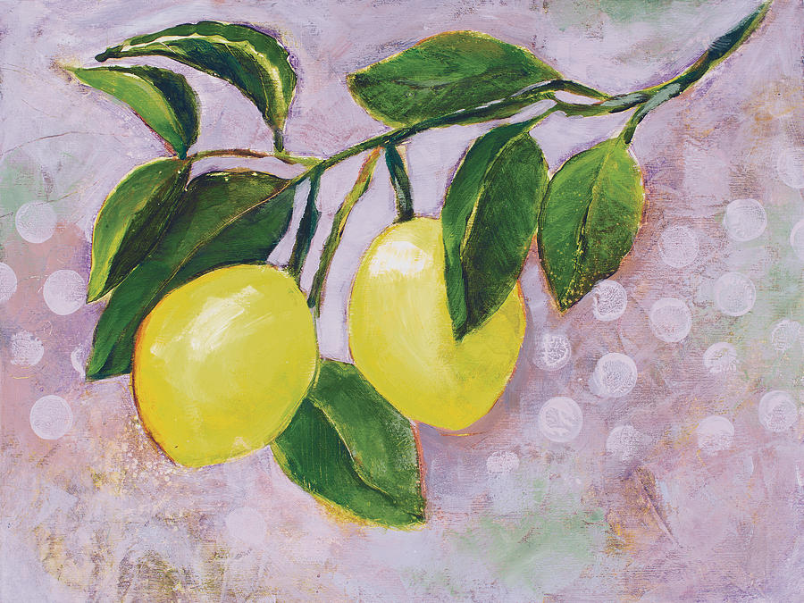Art For Kitchen Painting - Yellow Lemons On Purple Orchid by Jen Norton