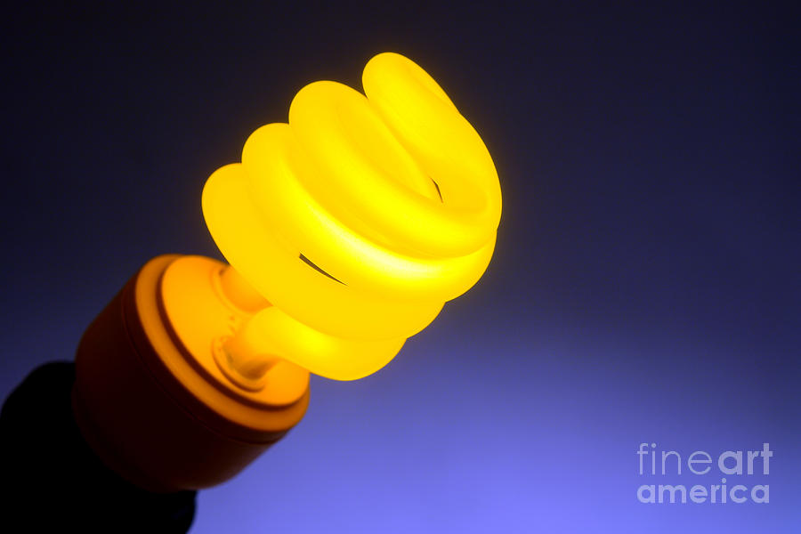Bulb Photograph - Yellow Light by Olivier Le Queinec