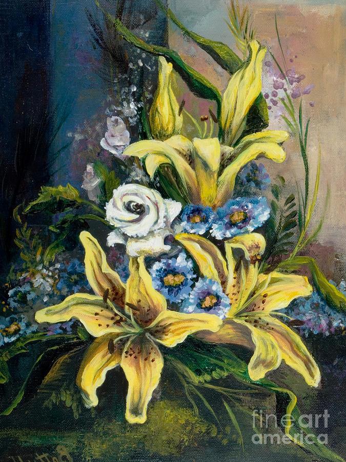 Acrylic Painting - Yellow Lillies by Elisabeta Hermann