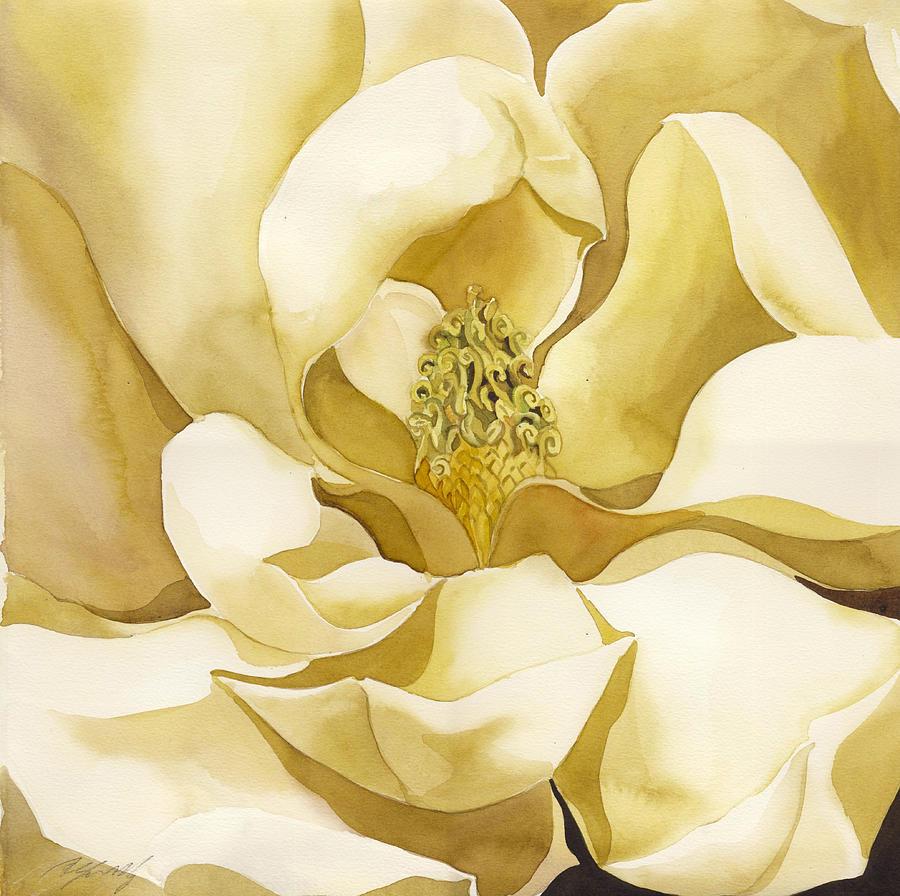 Yellow Magnolia Painting by Alfred Ng