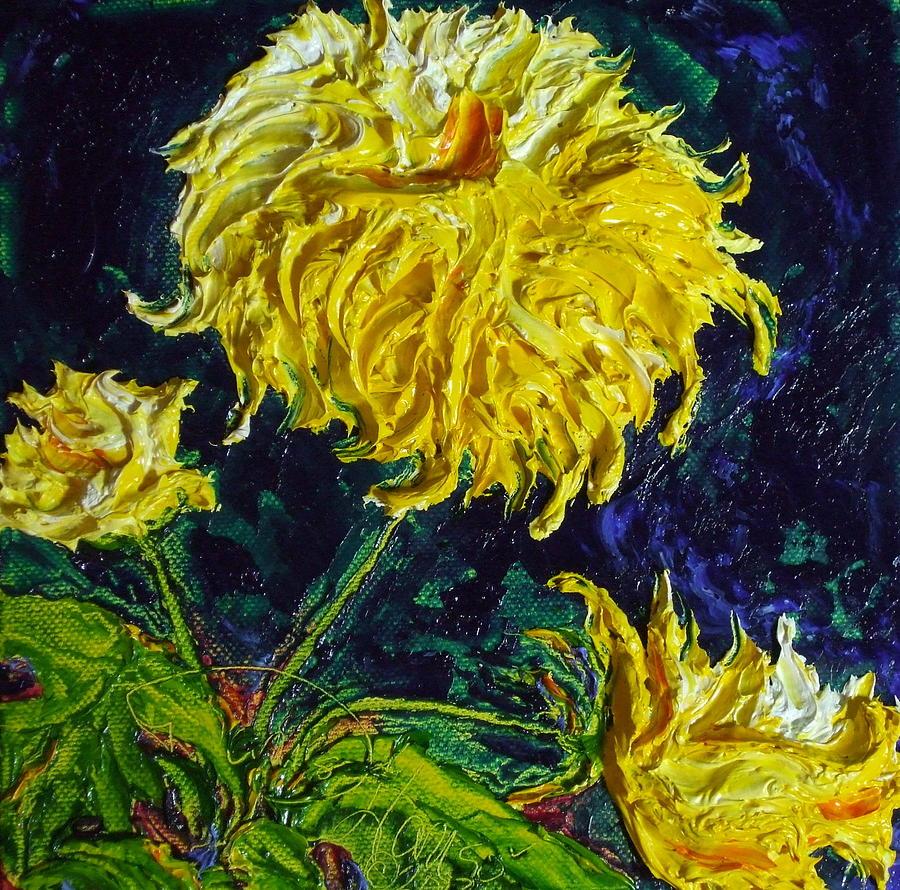Oil On Canvas Painting - Yellow Mum by Paris Wyatt Llanso