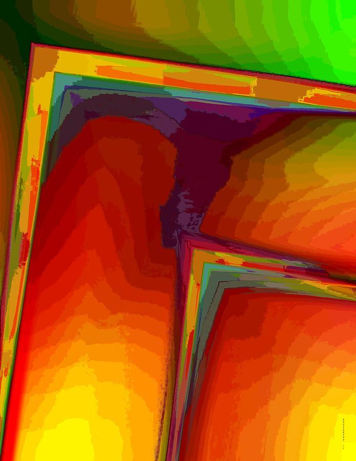 Surreal Geometry Digital Art - Yellow Orange And Green Design by Mario Perez