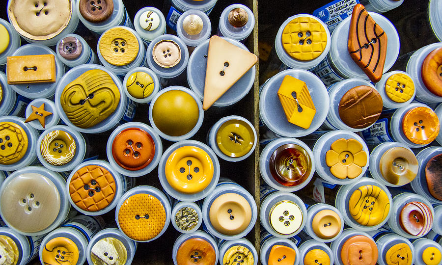 Button Photograph - Yellow Palate by Jean Noren
