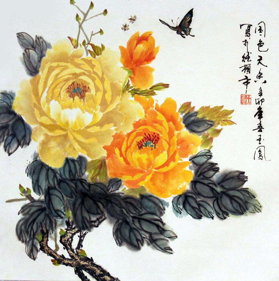 Peonies Photograph - Yellow Peonies by Yufeng Wang