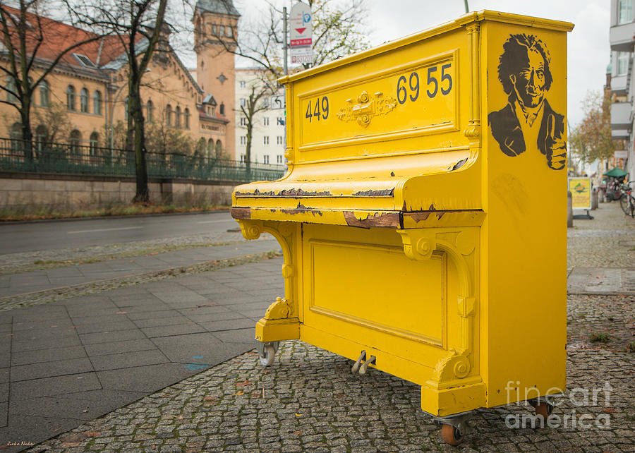 Beethoven Photograph - Yellow Piano Beethoven by Jivko Nakev