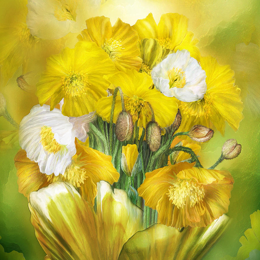 Yellow Poppies In Poppy Vase - SQ by Carol Cavalaris