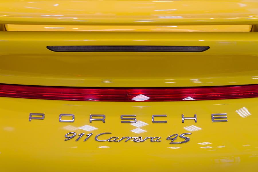 Auto Photograph - yellow Porsche by Stelios Kleanthous
