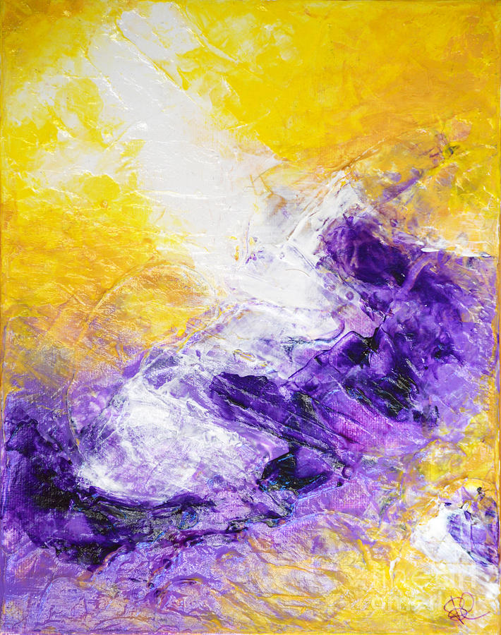 Yellow Purple Inspirational Color Energy Original Abstract ...Yellow Abstract Painting