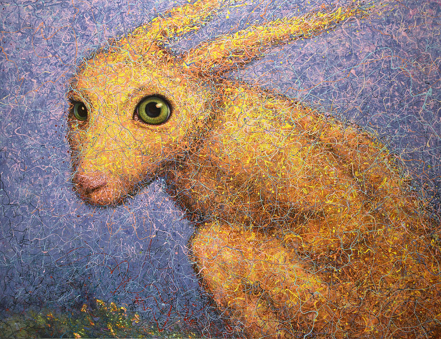 Bunny Painting - Yellow Rabbit by James W Johnson