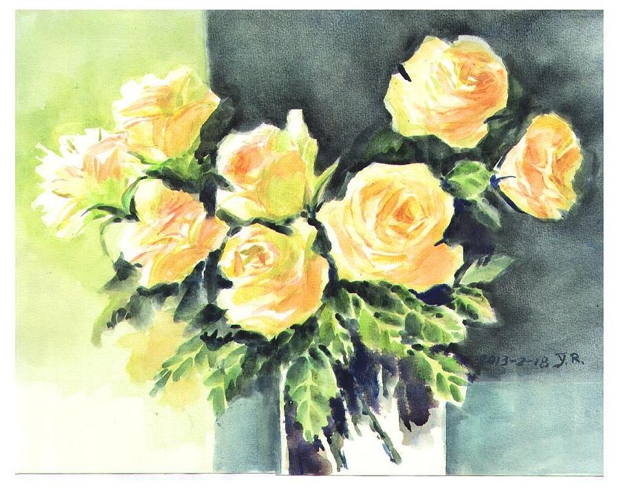 Yellow Rose In Vase Watercolor Painting By Lily Lily