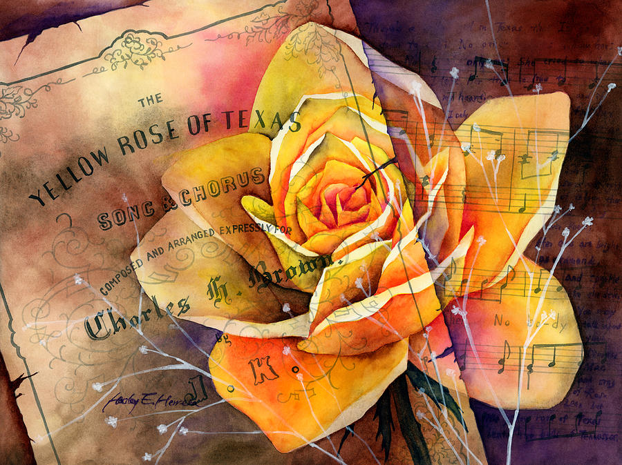 Yellow Rose Of Texas Painting By Hailey E Herrera
