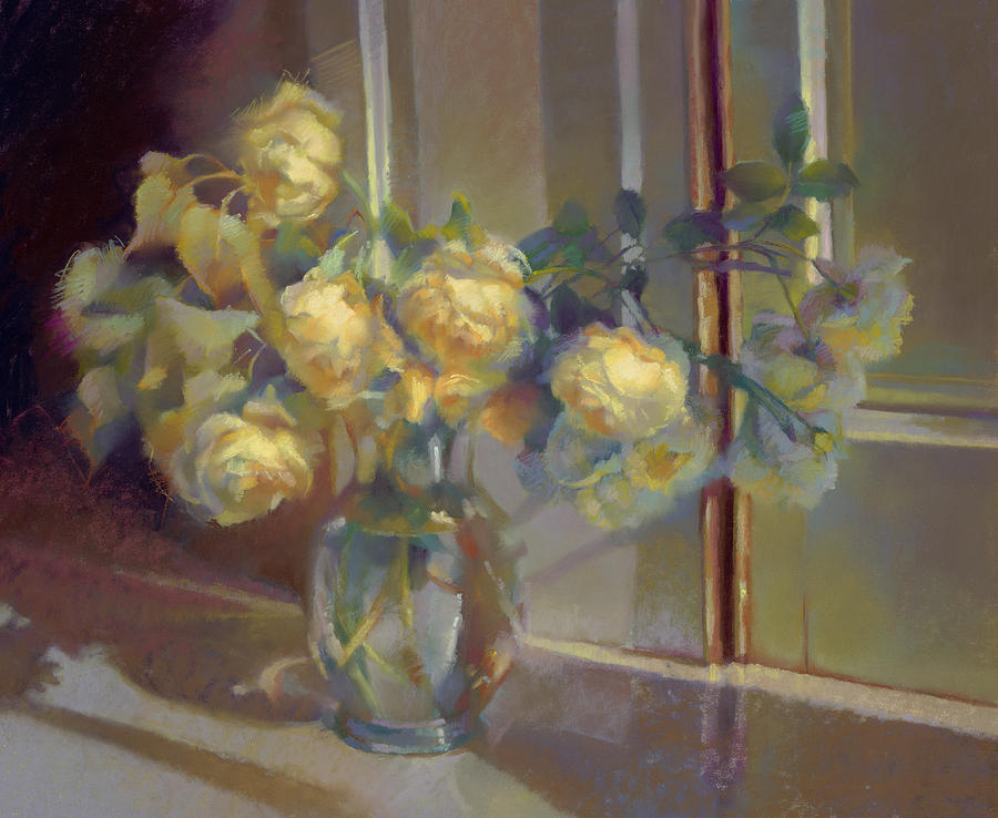 Pastel Painting - Yellow Roses by Cathy Locke