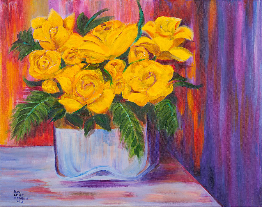 Rose Painting - Yellow Roses by Dani Altieri Marinucci