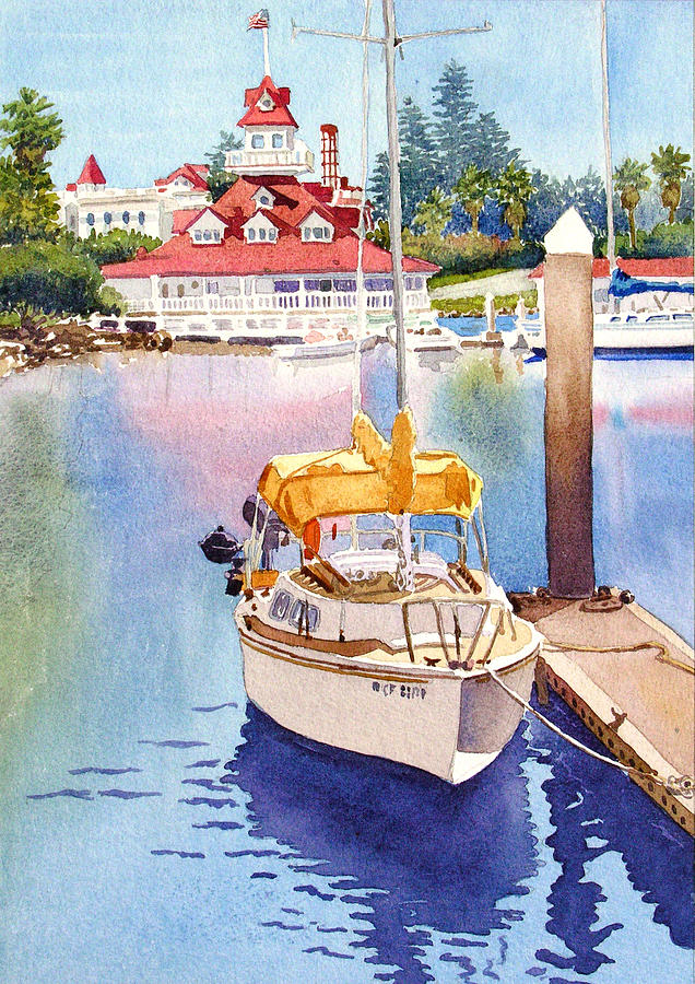 Sailboat Painting - Yellow Sailboat And Coronado Boathouse by Mary Helmreich