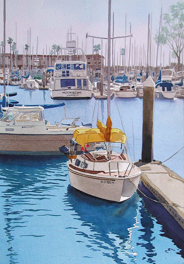 Oceanside Painting - Yellow Sailboat Oceanside by Mary Helmreich