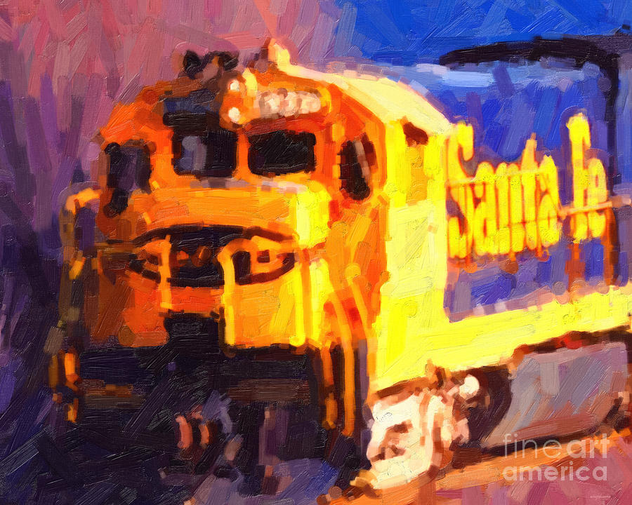 Transportation Photograph - Yellow Sante Fe Locomotive by Wingsdomain Art and Photography