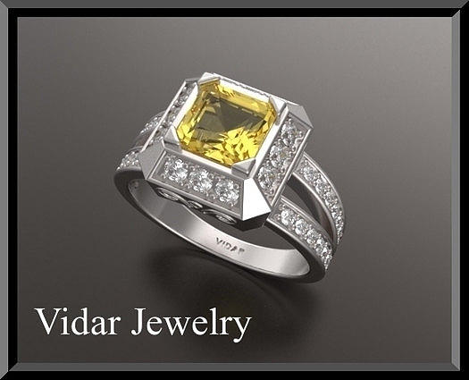 Gemstone Jewelry - Yellow Sapphire And Diamond Double Halo 14k White Gold Engagement Ring by Roi Avidar