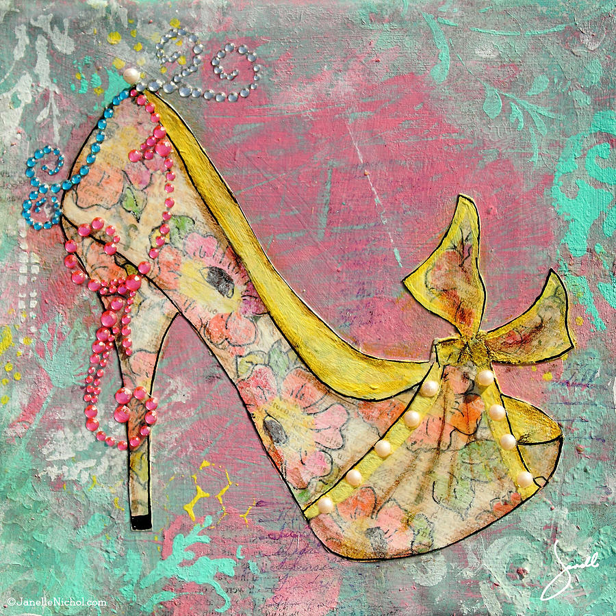 yellow shoe with watercolor flower print mixed media by