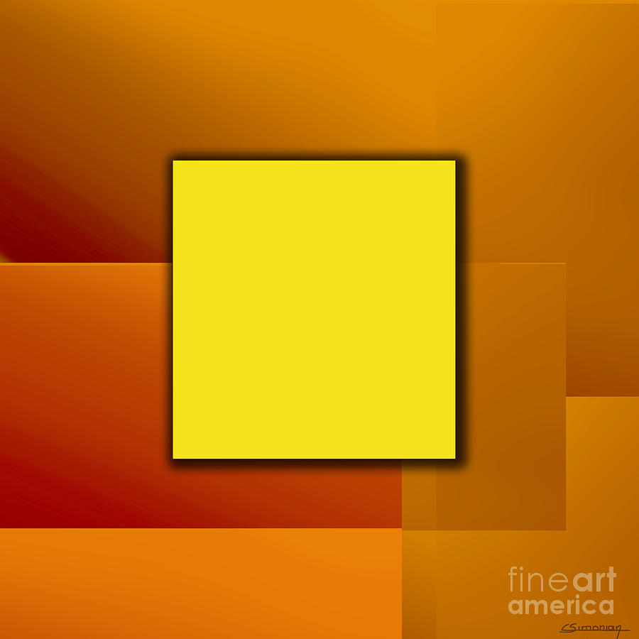 Abstract Painting - Yellow Square by Christian Simonian
