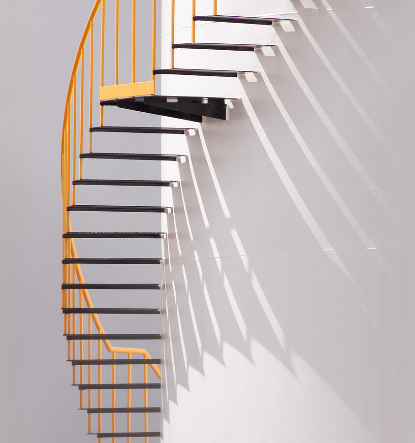 Steps Photograph - Yellow Staircase by Jacqueline Hammer