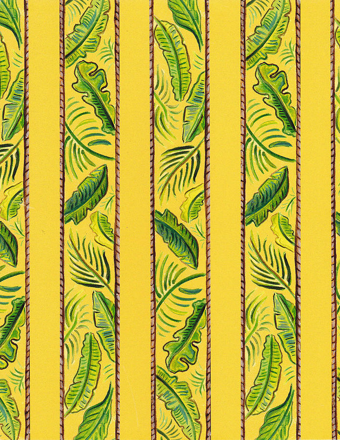 Yellow Striped Palms Textile Pattern Painting