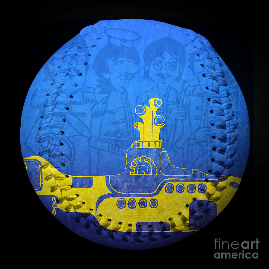 Baseball Photograph - Yellow Submarine 2 Baseball Square by Andee Design