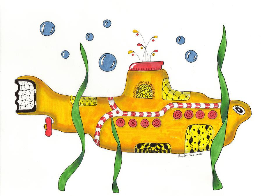 Submarine Mixed Media - Yellow Submarine by Sue Brassel
