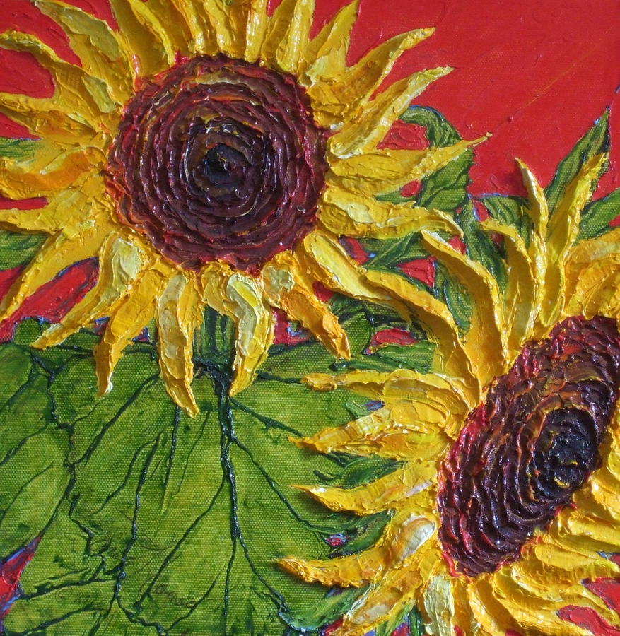 Oil On Canvas Painting - Yellow Sunflowers On Red by Paris Wyatt Llanso