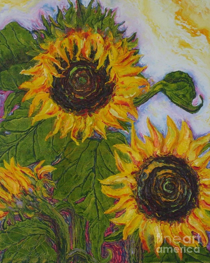 Oil On Canvas Painting - Yellow Sunflowers by Paris Wyatt Llanso